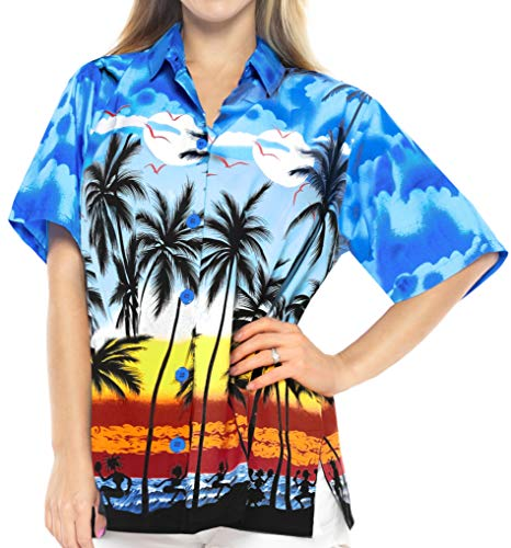 LA LEELA Likre Camp Aloha Beach Top Shirt Bright Blue 4 XL - US 40 - -