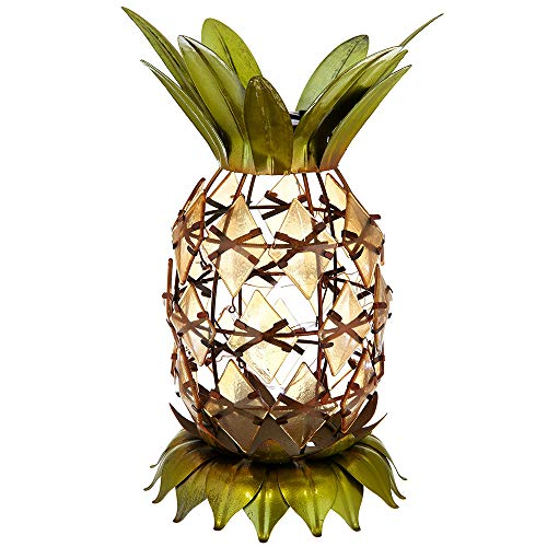 Solar Table Top Lamp, Pineapple Shape, Bronze Tone Metal Cage, Bright LEDs.