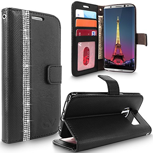 Galaxy S8 Plus Case, Cellularvilla [Diamond] Embossed Rose Flower Design Premium Pu Leather Wallet Case ID&Credit Card Slot Flip Stand Protective Cover Samsung Galaxy S8 Plus (Black Bling)