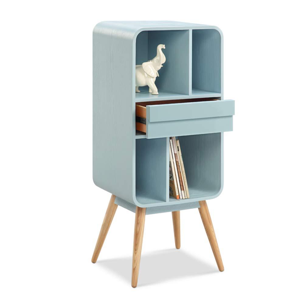 ZR- ロッカー、シンプルソリッドウッド小さな書棚/ローキャビネット/ドアシェルフ/格子キャビネット付き (色 : Sky blue) B07HL5Q631 Sky Blue