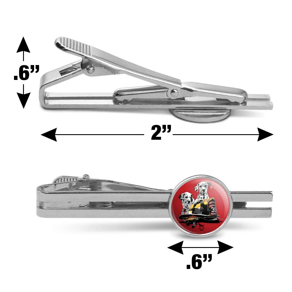 GRAPHICS /& MORE Dalmatian Dogs Firefighter Fire Helmet Round Tie Bar Clip Clasp Tack Silver Color Plated
