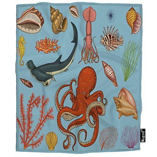 Mugod Sea Creature Blanket Seahorse Nautilus Jellyfish Octopus Squid Hammerhead Shark Fuzzy Soft Cozy Warm Flannel Throw Blankets Decorative for Boys Girls Toddler Baby Dog Cat 40X50 -