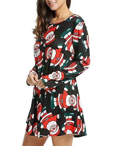 Dall'oscillazione Di Più Svasato Di Di Verde Superiore Stampa Babbo Natale Formato Natale A Regali Natale Di Maniche Vestito Bifast Lunghe 7COdnqw7
