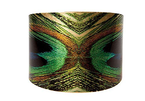 Rain Jewelry Peacock Tail Feather Wide Cuff Bracelet -