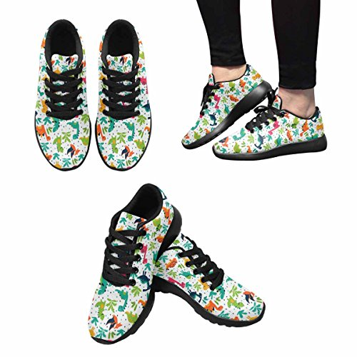 InterestPrint Womens Jogging Running Sneaker Lightweight Go Easy Walking Comfort Sports Athletic Shoes Funny Dinosaurs, Clouds and Trees