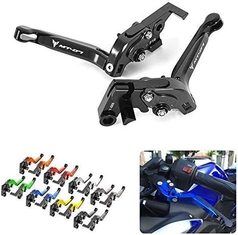 CNC Aluminum Motorbike Adjustable Brake Clutch Levers Foldable for Yamaha MT07 MT 07 MT-07 2014-2020-Black+Black+Black+Red