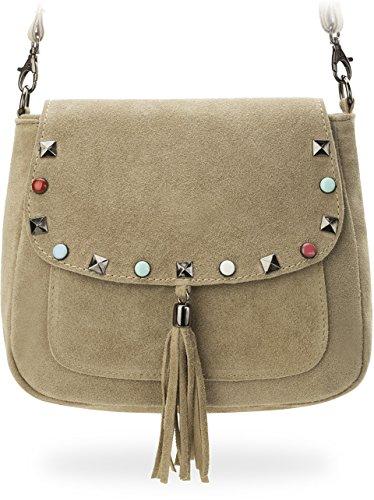 italienische Damentasche Messengertasche Schultertasche mit bunten Nieten Wildleder puderrosa