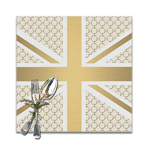 (Yuteea UK Union Jack Flag with Gold Equestrian Pattern Table Placemats for Dining Table,Washable Table mats Heat-Resistant(12x12 inch) Set of 6)