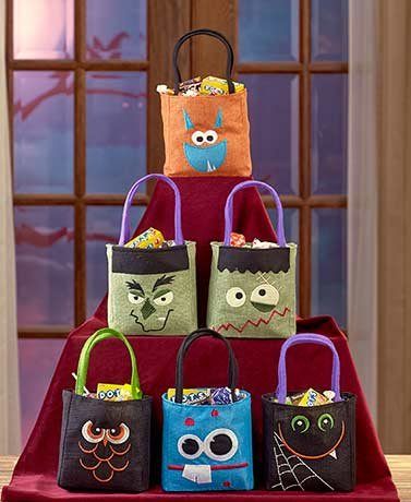 Set of 6 Halloween Burlap Treat Bags ( Spooky Faces )