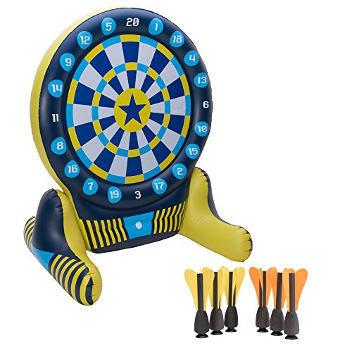 Big Sky Giant Inflatable Dartboard Set - Outdoor Lawn Dart Game for Adults & Kids - Soft Tip Darts with Floating Bullseye - Fun Games for Pool Party, BBQs, Backyard, Drinking, Tailgating ()
