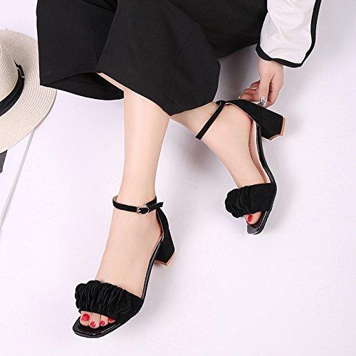 KHSKX-Grob Hacken Im Sommer Schuhe Mit Einem Koreanischen Wort Square Schnalle Blume Sandalen Mit Groben Peep - Toe - Pumps Weiblich Thirty-nine