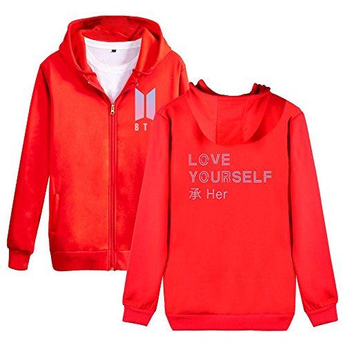 Yourself Red Uomo Cappotto Hoodie E Con Love Per Cerniera Maniche Sweatshirt Donne Bts Giacche Unisex Lunghe Popolare Felpe Cappuccio Gogofuture Yn4wx71HqO