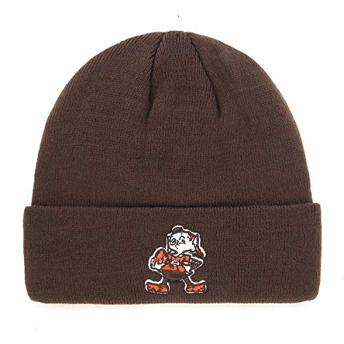 OTS NFL Cleveland Browns Male Raised Cuff Knit Cap, Brown, One Size