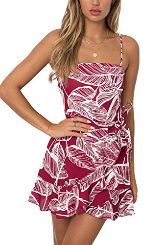 Jennyarn Womens Summer Leaf Printed Sleeveless Above Knee Length Red Mini Dress M (Tie Dress Printed)