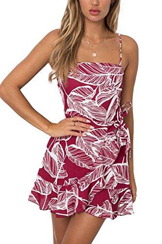 Jennyarn Womens Summer Leaf Printed Sleeveless Above Knee Length Red Mini Dress M (Dress Tie Printed)