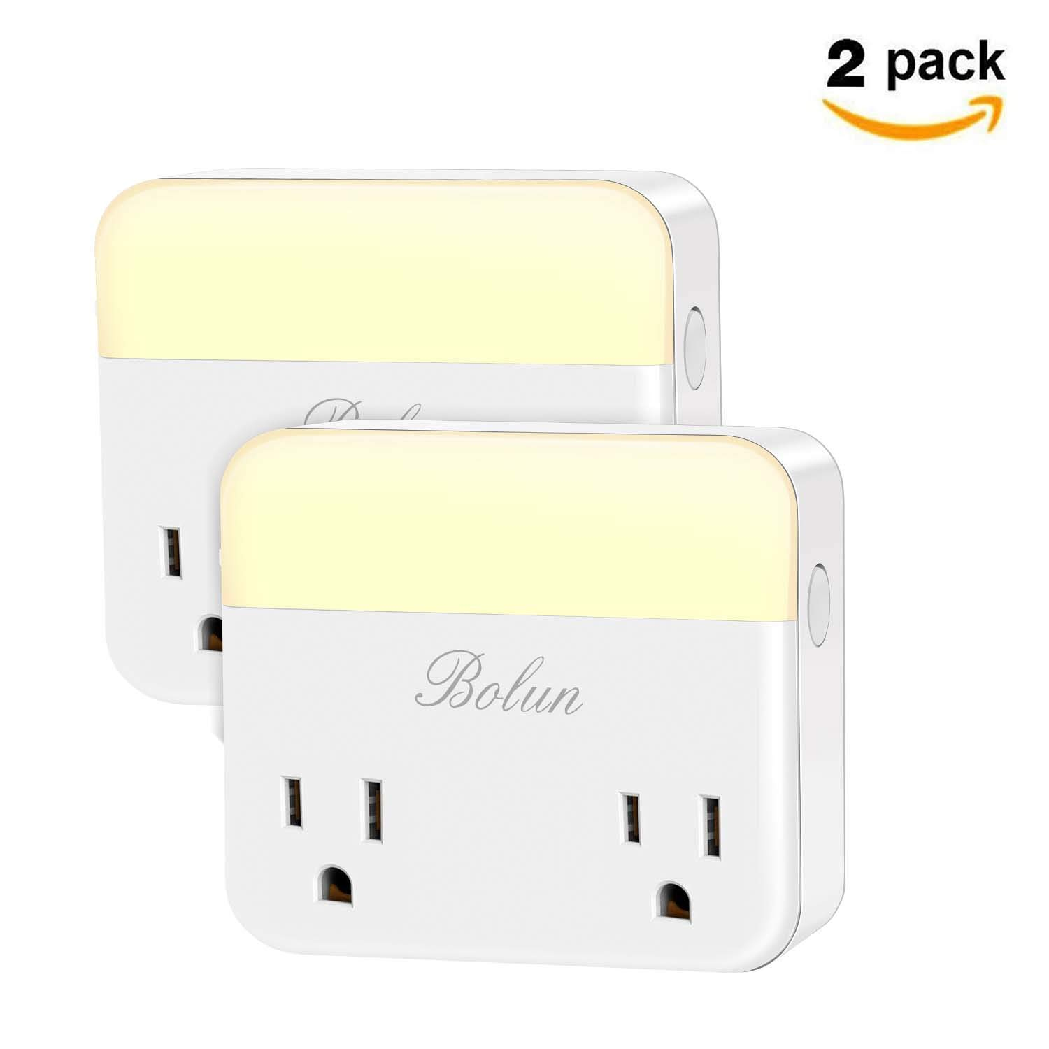 Smart Plug Wifi Outlet with Night Light, Works with Alexa, Echo, Google Home Assistant IFTTT, Wireless Remote Control Outlet from Anywhere, No Hub Required, 0%-100% Adjustable Brightness, 2 Packs