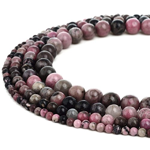 10mm Natural Rhodonite Beads Round Loose Gemstone Beads for Jewelry Making Strand 15 inch (38-40pcs)