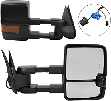Fit 2003-2007 Chevy Silverado Powered Black Side Towing Mirror+Heat+LED Signal