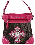 Camouflage Cross Studded Women Cross Body Handbag Western Style Purse Country Satchel Single Shoulder Bag (Hot Pink)
