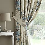 Curtina Milldale Floral Print Readymade Curtain Tieback Pair, Teal - 26 by Dove Mill Curtains