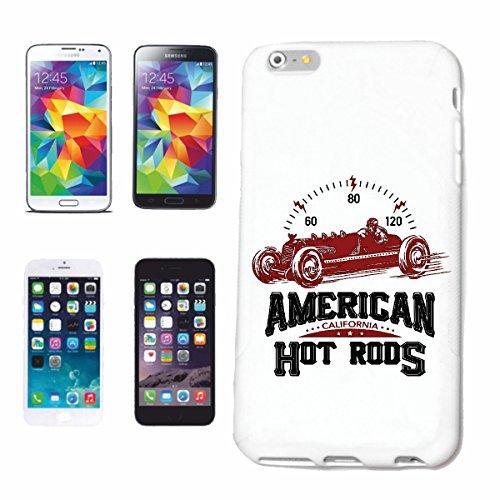 """cas de téléphone iPhone 7S """"AMERICAN CALIFORNIA HOT ROD HOT ROD CAR US Mucle CAR V8 ROUTE 66 USA AMÉRIQUE"""" Hard Case Cover Téléphone Covers Smart Cover pour Apple iPhone en blanc"""