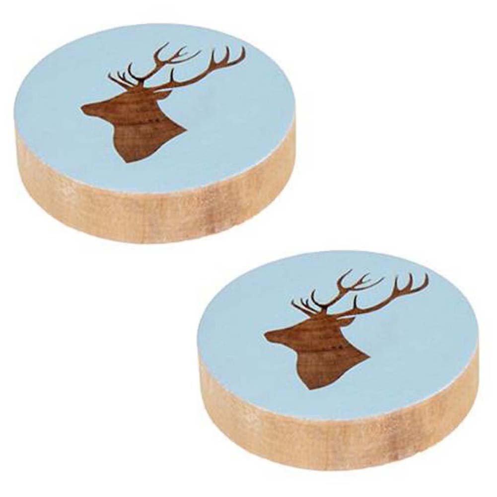 ANQI Elk Pattern Beer Bottles Opener Animal Carved Wood Opener Refrigerator Fridge Magnet for Home Kitchen Office 4PCS