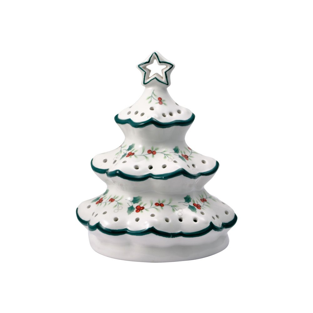Pfaltzgraff Winterberry Village Christmas Tree With LED Light, 6-1/2-Inch