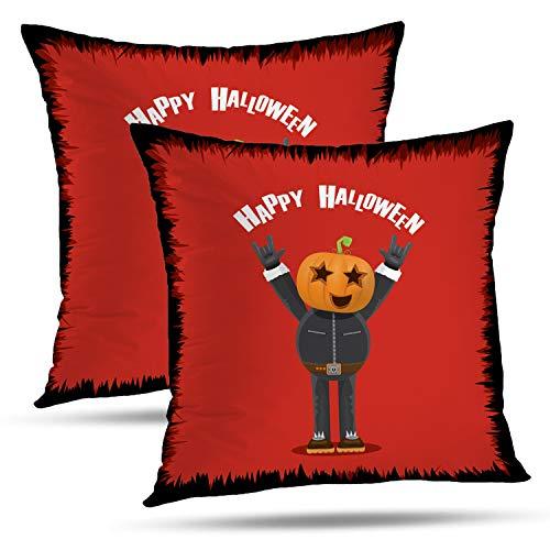 Batmerry Halloween Thanksgiving Decorative Pillow Covers 18x18 inch Set of 2,Happy Halloween Creative Man Pumpkin Head Rock Roll Greeting Frame Throw Pillows Covers Sofa Cushion Cover -