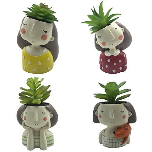 - 4 PCS Set Cute Girls Shaped Succulent Cactus Flower Pot/Plant Pots/Planter/Container for Home Garden Office Desktop Decoration (Plants Not Included)