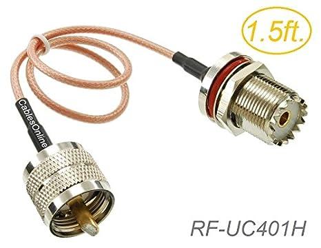 UHF PL259 macho a UHF s0239 50-ohm hembra de mamparo RG316 Cable coaxial de baja pérdida RF, rf-uc401h: Amazon.es: Electrónica