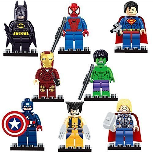 8 Marvel & DC Superheroes Mini Figures + Free Spider Man Inflatable Sword and Inflatable Shield Set