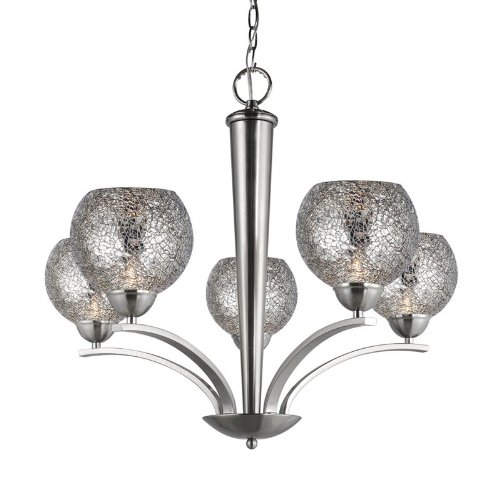 (Woodbridge Lighting 13015STN-M00MIR 26-1/-2-Inch by 23-1/2-Inch North Bay 5-Light Chandelier, Satin Nickel)