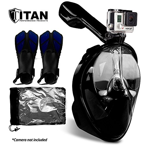 Titan Adjustable Tube (Full Face Snorkel Mask for Adults with Easy Breathe No-Mouthpiece Design | Diving Mask has 180 Degrees Panoramic View and is GoPro Compatible | Bundle Comes With Open Heel Adjustable Diving Fins)