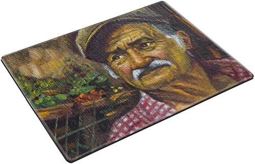 Price comparison product image MSD Place Mat Non-Slip Natural Rubber Desk Pads design 36202754 oil portrait of senior man with his cap