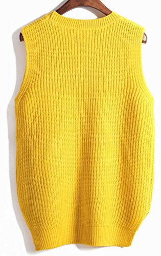 Womens Pullover Sweater amp;W Vest Solid M Warm Knit Sleeveless amp;S Round Neck Yellow qwCn84xEv