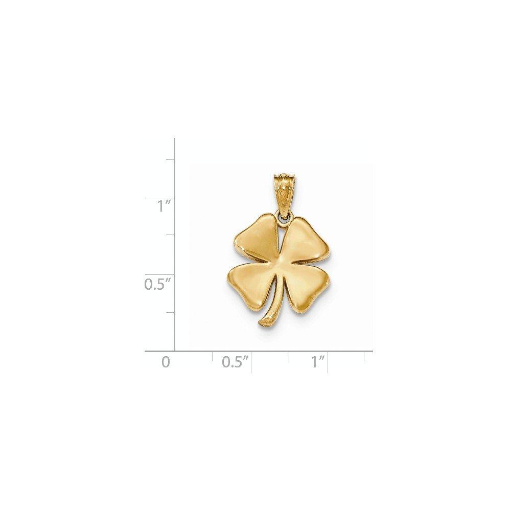 Colgante de tr/ébol de 4 hojas oro amarillo de 14 quilates