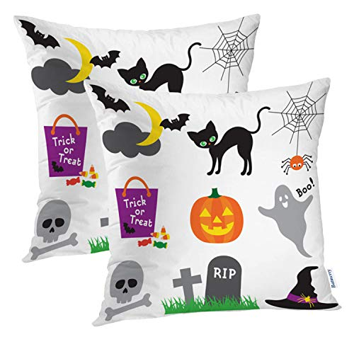Batmerry Halloween Pillow Covers 18x18 inch Set of 2, Halloween Candy Cute Ghost Bat Lantern Jack Witch Bag Throw Pillows Covers Sofa Cushion Cover Pillowcase Home -
