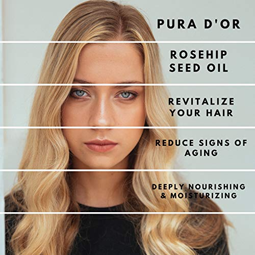 PURA D'OR (4 Oz) Organic Rosehip Seed Oil 100% Pure Cold Pressed, Usda Certified Organic, All Natural Anti-Aging Moisturizer Treatment for Face, Hair, Skin & Nails, Men & Women (Packaging May Vary)
