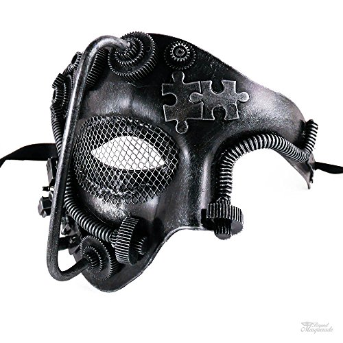 Half Style Mask (Steampunk Style Phantom Half Face Men Masquerade Mask Prom Party (Silver))