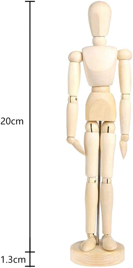 8In Artists Wooden Manikin Jointed Mannequin Wooden Male Manikin Blockhead Artist Human Figure Articulated Mode Perfect for Home Decoration//Drawing The Human Figure