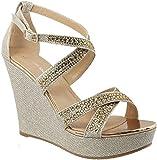 Top Moda FRANSKY-9 Women's Wedge Sandal (8, Champagne)