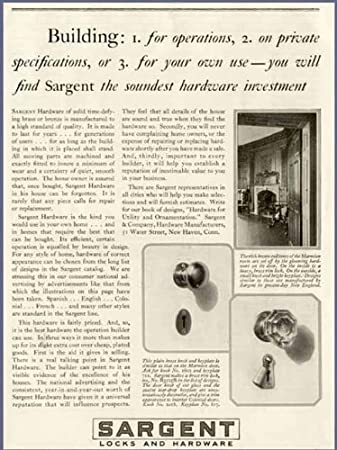1928 AD FOR SARGENT SOLID BRASS U0026 BRONZE DOOR HARDWARE Original Paper  Ephemera Authentic Vintage Print