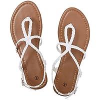 Rekayla Flat Sandals Braided Strap Tong Sandal for Women