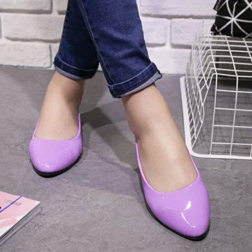Le Donne Comfort In Ecopelle Caramelle Colore Scarpe Punta A Punta Piatto Balletto Abito Blu Fannullone