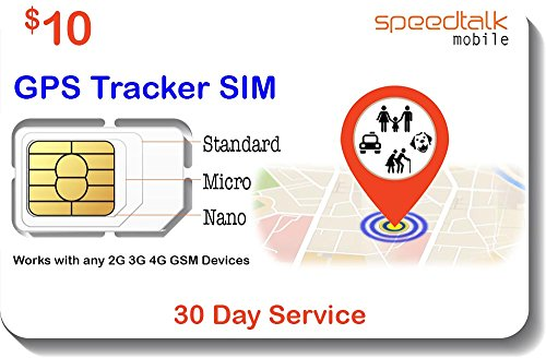 GSM SIM Card for GPS Trackers - Pet Kid Senior Vehicle Tracking Devices - 30 Day Service - USA Canada & Mexico Roaming by SpeedTalk Mobile