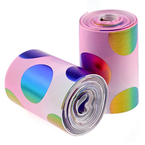 Midi Ribbon Holographic Rainbow Polka Dot Pink Gradient Color Background Printed Grosgrain Ribbon - 3