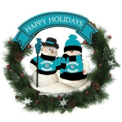 Florida Marlins 20 Team Snowman Wreath - MLB (20 Snowman Wreath)