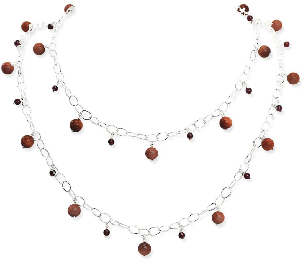 ICE CARATS 925 Sterling Silver Sun Stone Red Garnet Chain Necklaces Gemstone Fine Jewelry Gift Set For Women Heart by ICE CARATS (Image #2)