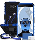 Samsung Galaxy A5 (2016) SM-A510F Blue Shock Proof Rugged Hard Case with Viewing Stand - LCD Screen Protector - Retractable Mini Stylus Pen - 3.5mm ZIPPER Stereo Hands Free HeadPhones with Mic