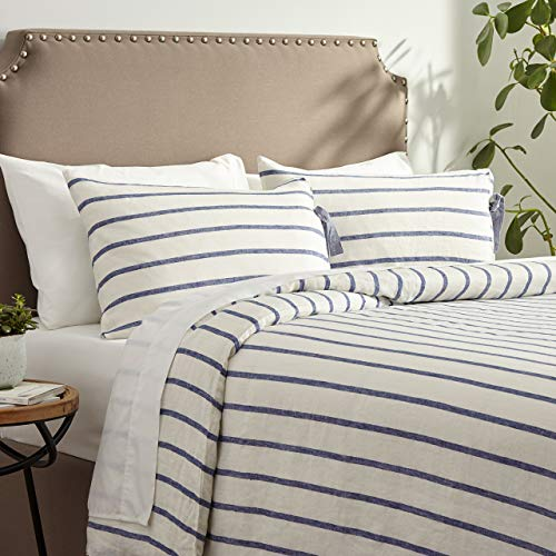 Stone & Beam Modern Farmhouse Striped 100% Linen Duvet Cover Set with Ties, Full/Queen, Blue and White (100 Linen Bedding)